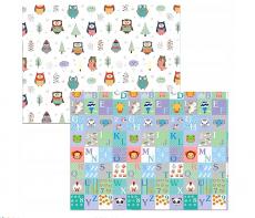 Kidsee Skladací obojstranná penová hrací deka, koberec 150x200cm - sovička a číslice