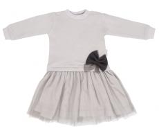 Mamatti Detské šaty s tylom Lúka - sivé