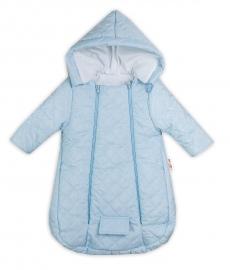 Kombinézka s kapucňou do autosedačky, kočíka Lux Baby Nellys ®prošívaná - modrá, veľ. 74