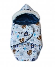 Baby Nellys zavinovacie fusak s kožušinkou Škriatok, dĺžka 85 cm -  lesné zvieratká