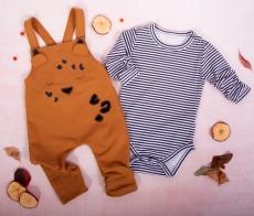 K-Baby 2dielna sada - Body dlhý rukáv, traky, karamel, prúžok, veľ. 80