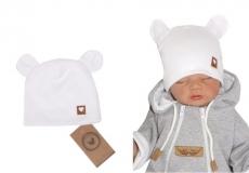 Z & Z Dvojvrstvová bavlnená čiapočka LOVE TEDDY, biela
