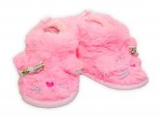 YO! Zimné chlupáčkové topánočky / capačky Macička YO! - ružové, 6 - 12m