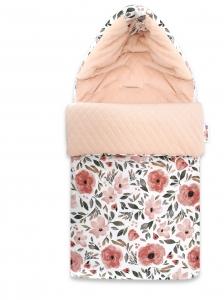 Baby Nellys Bavlnený fusak, prešívaný velvet, 45 x 95 cm - Lúčne kvietky, marhulová