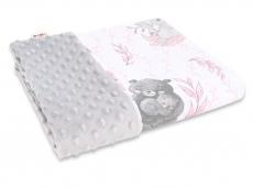 Baby Nellys Bavlnená deka s Minky 100x75cm, LULU natural, růžová, sivá