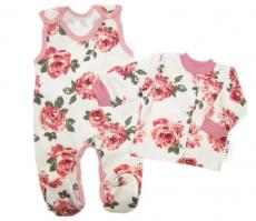 Baby Nellys 2 - dielna sada, bavlnené dupačky s košieľkou Ruže, pudrová/ecru, veľ. 56