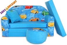 NELLYS Rozkladacia detská pohovka 02R - Autíčka v modrej
