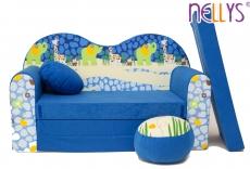 NELLYS Rozkladacia detská pohovka 02V - Safari v modré