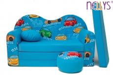 NELLYS Rozkladacia detská pohovka 05V - Auta v modrej