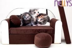 NELLYS Rozkladacia detská pohovka 32R - Mačičky hnedé