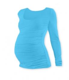 Tehotenské tričko Johanka s dlhým rukávom - tyrkys, M/L