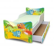 NELLYS Detská posteľ so zábranou a šuplík/y Dino, 160x80 cm