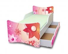 NELLYS Detská posteľ so zábranou a šuplík/y Kvetinky, 180x90 cm