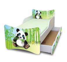 NELLYS Detská posteľ so zábranou a šuplík/y Panda, 180x90 cm