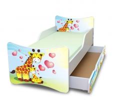 NELLYS Detská posteľ so zábranou a šuplík/y Žirafky, 160x80 cm