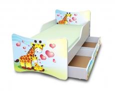 NELLYS Detská posteľ so zábranou a šuplík/y Žirafky, 200x80 cm
