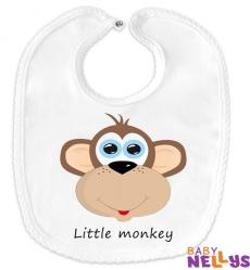 Podbradník bavlna Baby Nellys® Little Monkey - biely