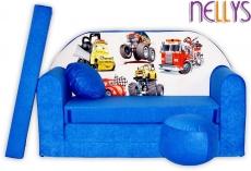 NELLYS Rozkladacia detská pohovka 52R - Autá v modrej