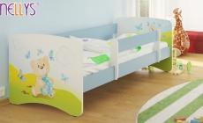 NELLYS Detská posteľ s bariérkou Nico - Míša darček/sv.modrá, 180x90 cm