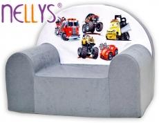 Detské kresielko / pohovečka Nellys ® - Autá v šedej