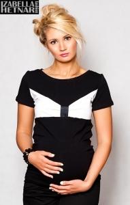 Tehotenské tričko / blúzka LOLA - čierna / biela