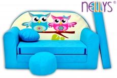 Rozkladacia detská pohovka Nellys ® sovička - modré
