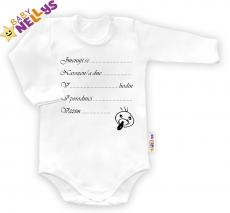 Body dl. rukáv vel. 68, Baby Nellys ® - biele - Narodil / a som sa ...