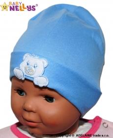 Bavlnená čiapočka Medvedík Baby Nellys ® - modrá