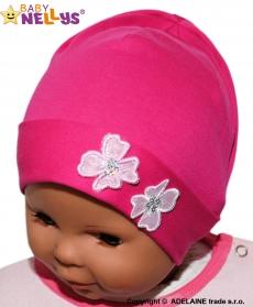 Bavlnená čiapočka Kvetinky Baby Nellys ® - sýto ružová