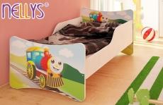 NELLYS Detská posteľ so zábranou Veselá Lokomotíva 180x90 cm