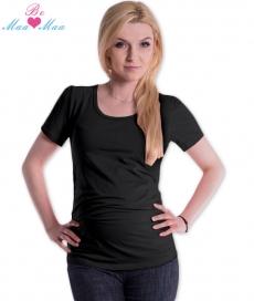 Be MaaMaa Tričko JOLY bavlna nielen pre tehotné - čierne