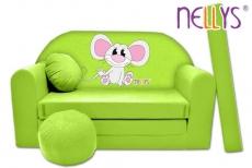 Rozkladacia detská pohovka Nellys ® Myška v zelenom