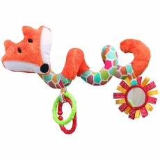 Hencz Toys Edukačná hračka Hencz s hrkálkou a zrkadlom - LIŠKA - špirála -oranžová