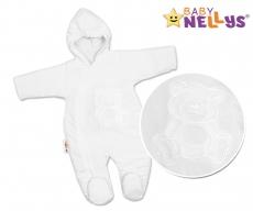 BABY NELLYS Kombinézka/overal Medvedík Teddy - biela