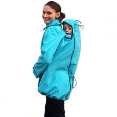 Bunda pre nosiace, tehotné - softshellová - pre nosenie dieťaťa vpredu aj vzadu -tyrkysová
