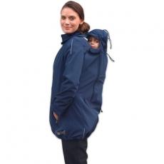 Bunda pre nosiace, tehotné - softshellová - pre nosenie dieťaťa vpredu aj vzadu - tm.modrá