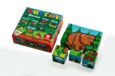 Teddies Kocky kubus drevené Moje prvé lesné zvieratká drevo 9x9x3cm 9ks v krab.11x11x6cm