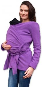 Zavinovací kabátik pre nosiacich, tehotné - fleece - fialový