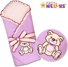 Baby Nellys Zavinovačka s výstužou Teddy Bear - velúr - lila