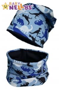 Bavlnená sada čiapočka / nákrčník s dino Baby Nellys ® - modrá