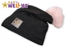 Bavlnená čiapočka Tutu květinka Baby Nellys ® - grafit