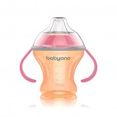 Nekvapkajúci hrnček s tvrdým náustkom Baby Ono - oranžovo/ružová