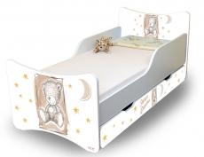 NELLYS Detská posteľ Sweet Teddy so zábranou a so zásuvkou - béžová, 160x90 cm