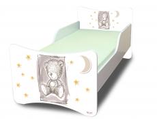 NELLYS Detská posteľ so zábranou Sweet Teddy - sivý, 160x80 cm