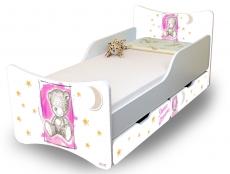 Detská posteľ Sweet Teddy so zábranou a s šuplíky - růžový, 180x80 cm