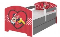 BabyBoo Detská posteľ Disney s zásuvkou, 160x80cm + zábrany - Minnie Srdiečko, D19