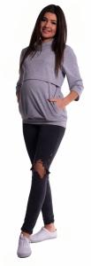 Be MaaMaa Tehotenské a dojčiace teplákové triko - sivý melír