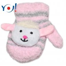 6cf728dba309 Kojenecké zimné froté rukavice YO - sv. ružová sivá - ovce