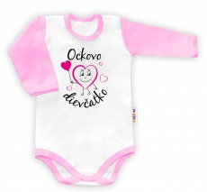 Baby Nellys Body dlouhý rukáv vel. 80, Ockovo dievčatko - biele/ružový lem