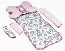 Baby Nellys Komplet do kočíka - podložka, polštářek, potah na popruhy a barierku č. 7  D19